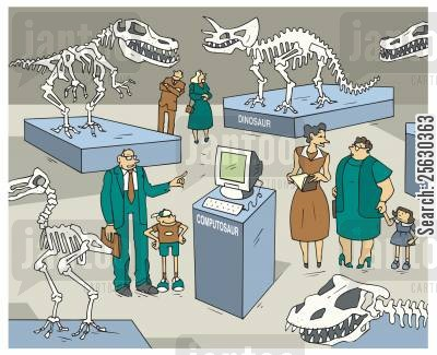 obsolete cartoon humor: Man and son looking at a computer displayed among dinosaurs skeletons in museum.