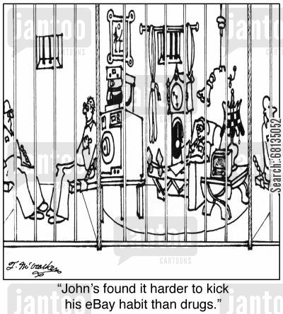 hoarding cartoon humor: 'John's found it harder to kick his eBay habit than drugs.'
