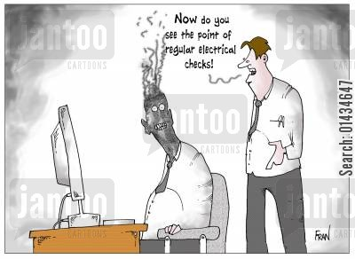electrical check cartoon humor: Now do you see the point of regular electrical checks?