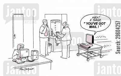 notifications cartoon humor: 'Hey! I sad, 'You've got mail!''