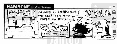 pen and paper cartoon humor: STRIP Hambone: Pen and paper, In case of emergency