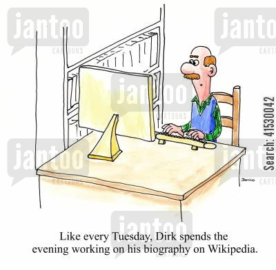 computer nerds cartoon humor: Like every Tuesday, Dirk spends the evening working on his biography on Wikipedia.
