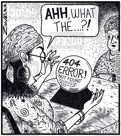 fortune teller cartoon humor: Fortune-teller: 'AHH, what the...?!'