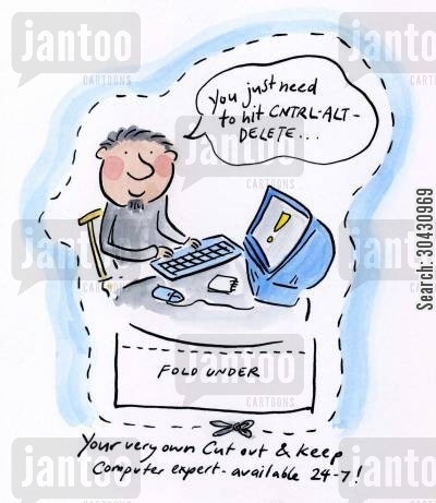 syntax cartoon humor: Cut out and keep your own IT expert.