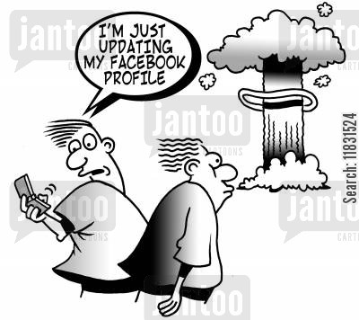 nuclear explosion cartoon humor: I'm just updating my facebook profile.