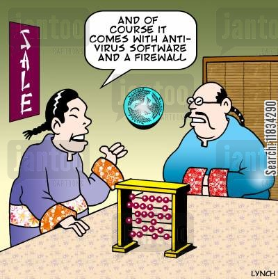 anti virus cartoon humor: 'And of course it comes with anti-virus software and a firewall.'