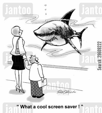 monitor cartoon humor: 'What a cool screen saver!'