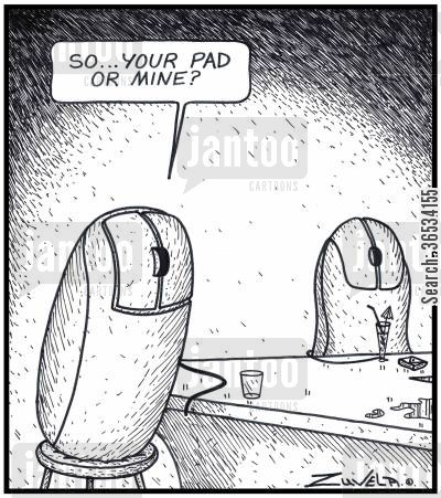 pick-up line cartoon humor: Male Computer Mouse: 'So...your Pad or mine?'