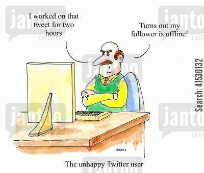 follower cartoon humor: 'I worked on that tweet for two hours. Turns out my follower is offline!'