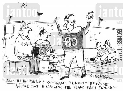 e-mailing cartoon humor: 'Another delay-of-game penalty because you're not e-mailing the plays fast enough.'