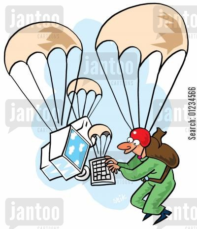 freefalls cartoon humor: Parachutist using computer in freefall, also using a parachute.
