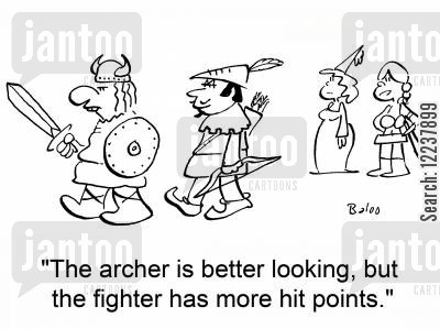 hit points cartoon humor: The archer is better looking, but the fighter has more hit points.