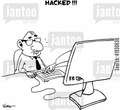 security system cartoon humor: HACKED!