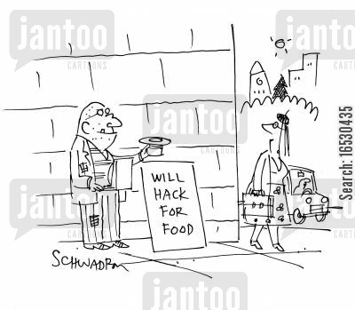 it experts cartoon humor: Will Hack For Food