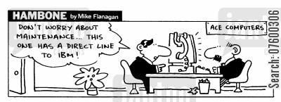ibm cartoon humor: STRIP Hambone: Direct line to IBM