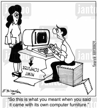 home offices cartoon humor: So this is what you meant when you said it came with its own computer furniture.