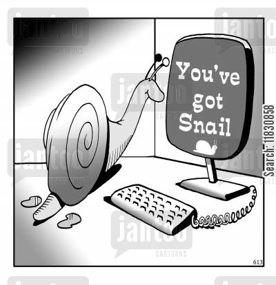 snail mail cartoon humor: You've got snail.