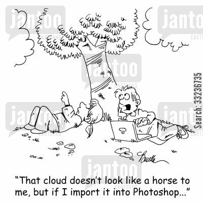 animation cartoon humor: 'That cloud doesn't look like a horse to me, but if I import it into Photoshop...'