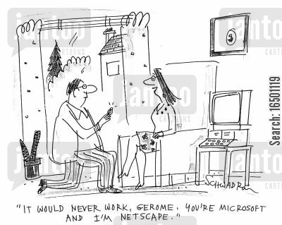 irreconcilability cartoon humor: It would never work - you're Microsoft and I'm Netscape.