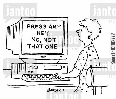 artificial intelligences cartoon humor: Press Any Key. No, Not That One.
