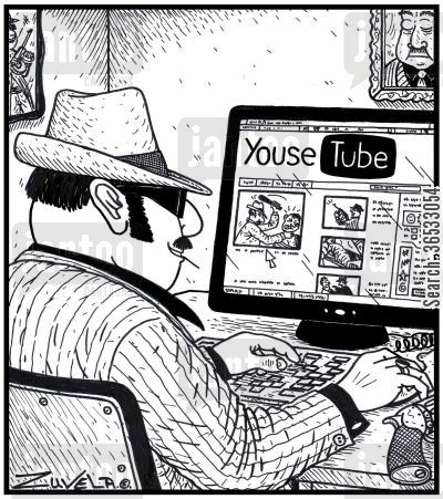 organised crime cartoon humor: A member of the Mafia checking out Youse Tube.