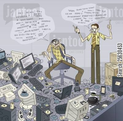 computer nerd cartoon humor: Conversation between two geeks in the IT department (IT jargon in bubbles)