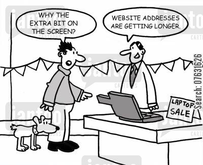 broadband cartoon humor: Laptop sale: Why the extra bit on the screen? Website addresses are getting longer.