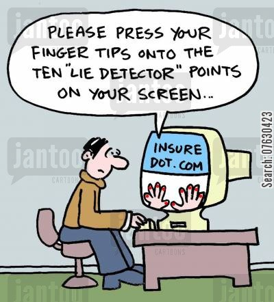 detectors cartoon humor: Please press your fingers onto the ten 'lie detector' points on your screen...