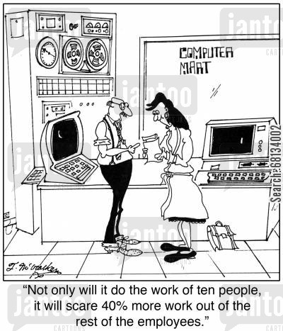 motivators cartoon humor: 'Not only will it do the work of ten people, it will scare 40 more work out of the rest of the employees.'