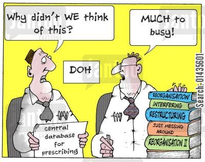 central database cartoon humor: Why didn't we think of this' - 'Much too busy.'