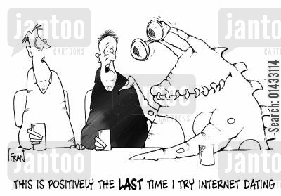 meet online cartoon humor: 'This is positively the last time I arrange a date over the internet,'