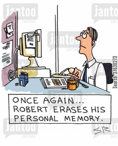 erase cartoon humor: Robert erases his memory,