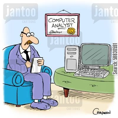 computer repairs cartoon humor: Psychiatrist is also Computer Analyst.