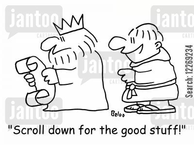 scroll down cartoon humor: 'Scroll down for the good stuff!'