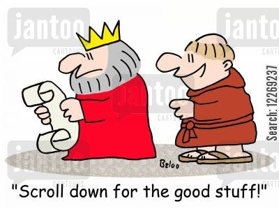stuff cartoon humor: 'Scroll down for the good stuff!'