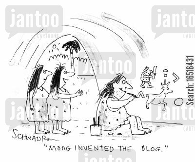 online blog cartoon humor: Moog invented the blog.