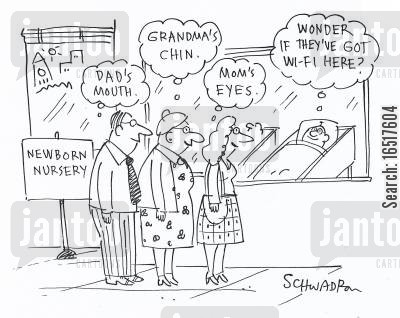 new parent cartoon humor: 'I wonder if they've got wifi here?'