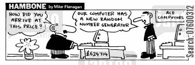 number crunchers cartoon humor: STRIP Hambone: Random Number Generator