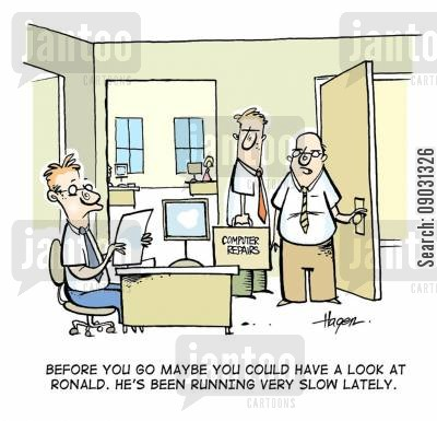 slow workers cartoon humor: 'Before you go maybe have a look at Ronald.He's been running very slow lately.'