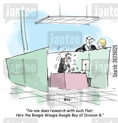 music fans cartoon humor: 'No one does research with such flair. He's the Boogie Woogie Google Boy of Division B.'