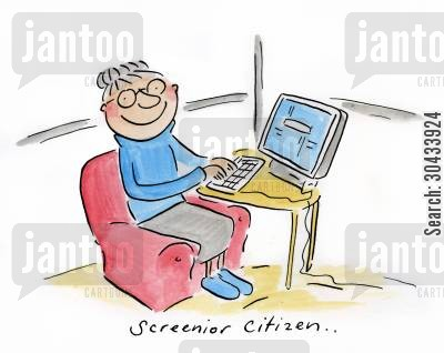 computer screen cartoon humor: Screenior citizen