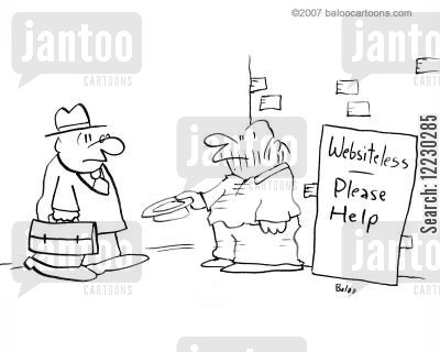 domain names cartoon humor: Websiteless -- please help.
