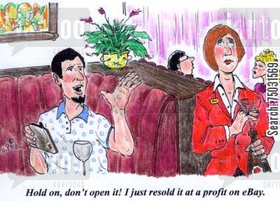 online auction cartoon humor: 'Hold on, don't open it! I just sold it at a profit on eBay.'