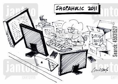 online shoppers cartoon humor: Shopaholic 2011.
