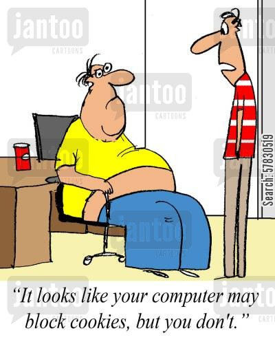 computer program cartoon humor: 'It looks like your computer may block cookies, but you don't.'