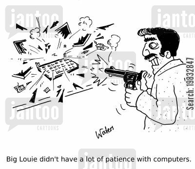 it technicians cartoon humor: Big Louie didn't have a lot of patience with computers.