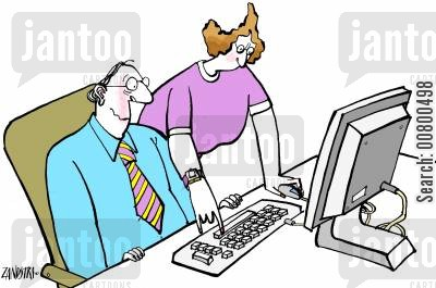 masculine cartoon humor: Man being shown how to use computer by a woman.