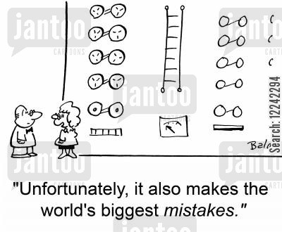 big mistakes cartoon humor: 'Unfortunately, it also makes the world's biggest mistakes.'