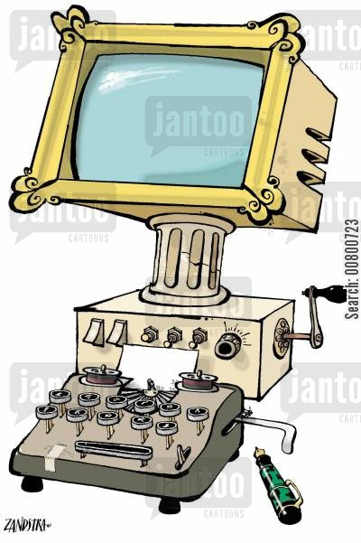 monitors cartoon humor: Old-fashioned computer