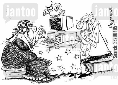 palm reader cartoon humor: Fortune teller using a computer rather than traditional methods